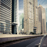 Contemporary financial street in shanghai Stock Images