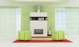 Contemporary fireplace Royalty Free Stock Photo