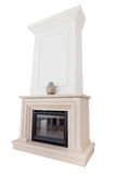 Contemporary fireplace from marble slabs. Royalty Free Stock Images