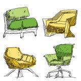 Contemporary furniture doodles. Royalty Free Stock Photos