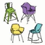 Contemporary furniture doodles. Stock Photos