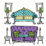 Contemporary furniture doodles. Stock Images