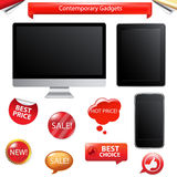Contemporary Gadgets. Vector. 3 Contemporary Gadgets - Computer, Fictitious Touch Tablet And Phone, Isolated On White Background, Vector Illustration Stock Photo