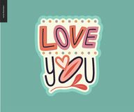 Contemporary girlie Love You letter logo Royalty Free Stock Image