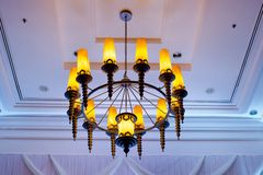 Contemporary glass chandelier Royalty Free Stock Photos