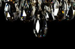 Contemporary glass chandelier crystals closeup Stock Image