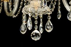 Contemporary glass chandelier crystals Stock Image