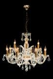 Contemporary glass chandelier Stock Photos