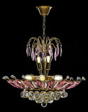 Contemporary gold chandelier isolated on black background. Crystal chandelier decorated Pink crystals Stock Images