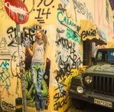 Contemporary graffiti art on city walls. Royalty Free Stock Photos