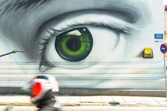 Contemporary graffiti art on city walls. Hardships of Greek economic crisis since 2010 have led to a new wave of graffiti Royalty Free Stock Images