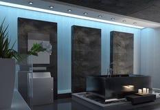 Contemporary Gray and White Home Bathroom Design Stock Image