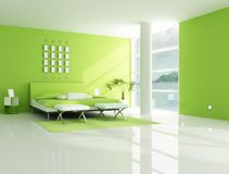 Contemporary  green bedroom Stock Photo