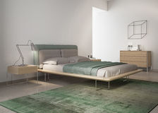 Contemporary green bedroom Stock Photos