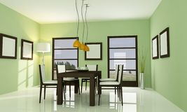 Contemporary green dining room. Modern green dining room - rendering Royalty Free Stock Photography