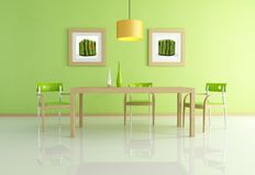 Contemporary green dining room Stock Images