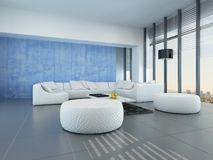 Contemporary grey, blue and white living room Stock Image