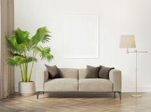 Contemporary grey interior with white frame royalty free stock photography