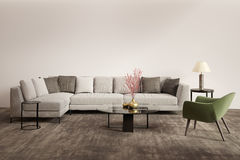 Contemporary grey living room with green armchair. Rendering of a Contemporary grey living room with green armchair Stock Photos