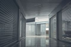 Wide long corridor with bright modern door Royalty Free Stock Images