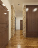 Contemporary hallway with rear doors Stock Images