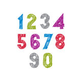 Contemporary handwritten vector digits, vector numerals Royalty Free Stock Images