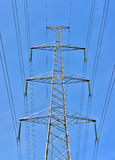 Contemporary high voltage electric pole Royalty Free Stock Photography