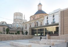 Contemporary and Historic Plaza, Valencia Royalty Free Stock Images