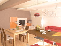 Contemporary Hobby Space and Living Room Interior Design Stock Photography