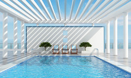 Contemporary holiday villa with pool. Contemporary luxury holiday villa with pool near the sea - rendering Stock Photos