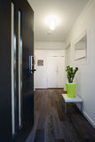 Contemporary home entrance front door and hallway Stock Photos
