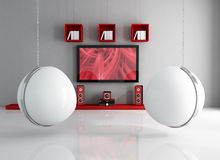 Contemporary home theater with ball-chair Royalty Free Stock Photo