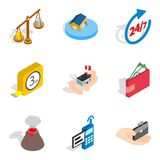Contemporary house icons set, isometric style. Contemporary house icons set. Isometric set of 9 contemporary house vector icons for web isolated on white Vector Illustration