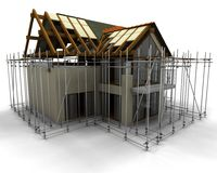 Contemporary house under construction Stock Image