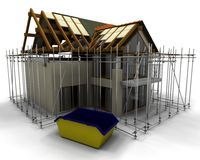 Contemporary house under construction Royalty Free Stock Photos