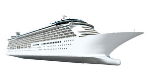 Contemporary Huge Shiny White Cruise on White Background Royalty Free Stock Photo