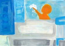 Contemporary illustration for bathroom. Child playing with foam in the bathtub. Abstract impressionism. royalty free illustration