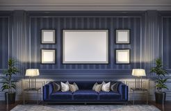 Contemporary interior in blue tones with a sofa and striped wallpaper. 3d rendering stock illustration