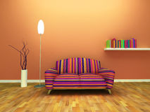 Contemporary interior design. Of living room with decor and furniture vector illustration
