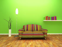 Contemporary interior design. Of living room with decor and furniture royalty free illustration