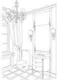 Contemporary interior doodles bathroom . Stock Photo