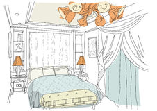 Contemporary interior doodles bedroom. Royalty Free Stock Photo