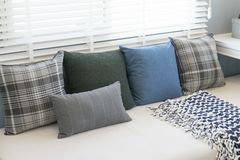 Contemporary interior of Living room with cushion. Contemporary interior of Living room with black,white and blue cushion stock photo