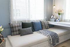 Contemporary interior of Living room with cushion. Contemporary interior of Living room with black,white and blue cushion royalty free stock photos