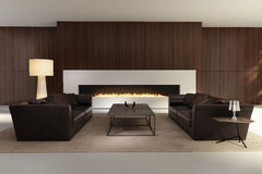 Contemporary interior, a living room with a  fireplace. 3d render of a Dark contemporary interior, a living room with a flat gas fireplace Stock Image