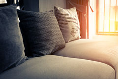 Contemporary interior of Living room with part of sofa. In sunny day and white curtain interior background concept royalty free stock photo