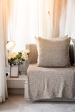 Contemporary interior of Living room with part of sofa in sunny. Day and white curtain interior background concept royalty free stock image