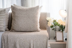 Contemporary interior of Living room with part of sofa in sunny. Day and white curtain interior background concept royalty free stock photography