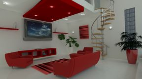 Contemporary interior living space Royalty Free Stock Image