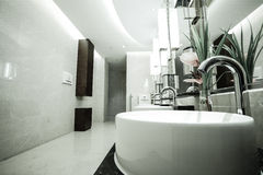 Contemporary interior of public toilet. Part of the luxury hotel stock photos